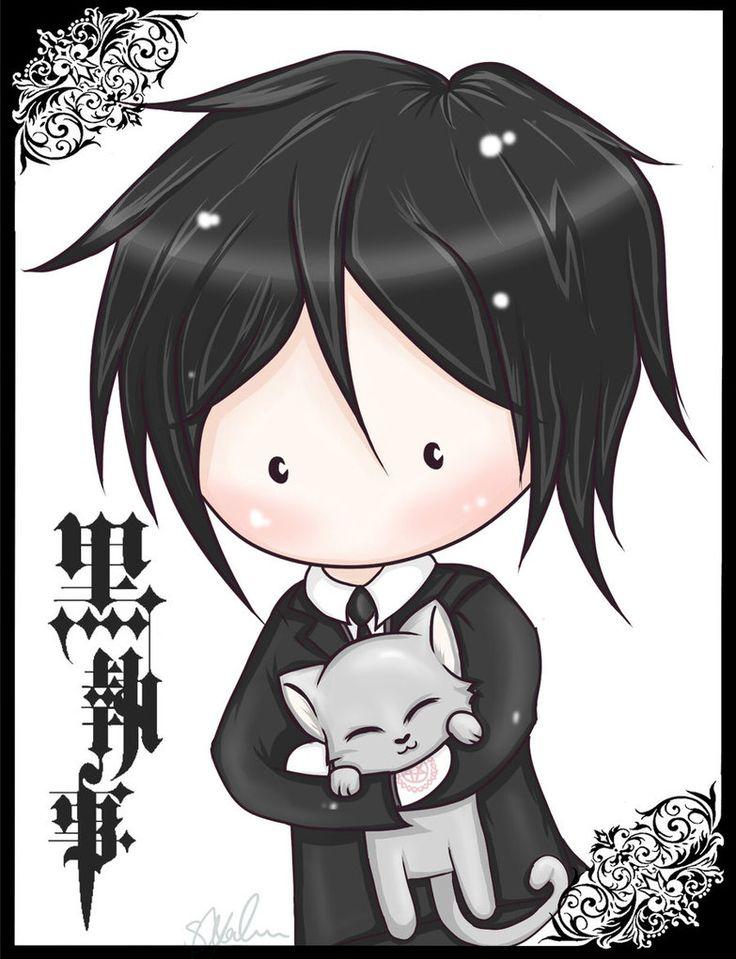 Black Butler Chibi Sebastian And Cat