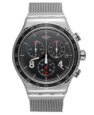 Swatch Watch, Men's Swiss Chronograph Blackie Stainless Steel Mesh Bracelet 43mm YVS401G