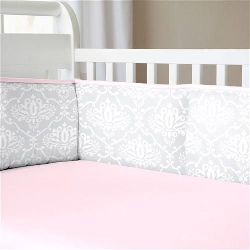 Baby Girl Crib Bedding in Gray Damask with Pink Accents by Carousel Designs.