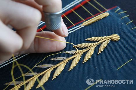 gold bullion embroidery - LOOK! You can see the tubes...