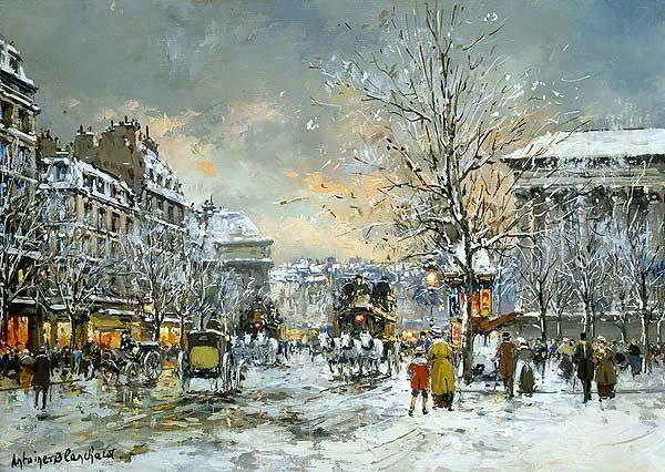 Omnibus at the Place de la Madeleine Winter Painting by Antoine Blanchard | Oil Painting: