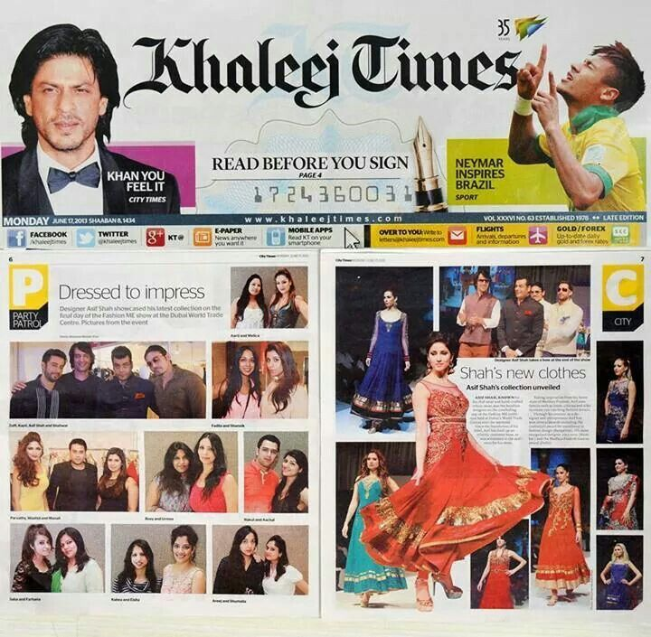 Our Diva Designer Manali Jagtap got featured in Khaleej Times Uae newspaper for showcasing latest collection 2013 at the Dubai Fashion and Me fashion show with Showstopper Parvathy Omanakuttan. @Manali Jagtap @pooja deore