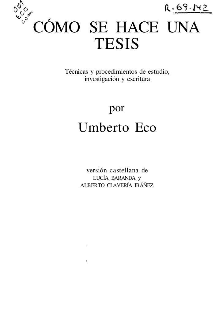 Como hacer tesis doctoral u eco