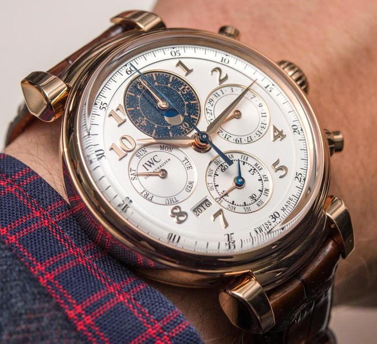 Hands-on review & original photos from SIHH 2017 of the IWC Da Vinci Perpetual Calendar Chronograph watch with price, & specs.