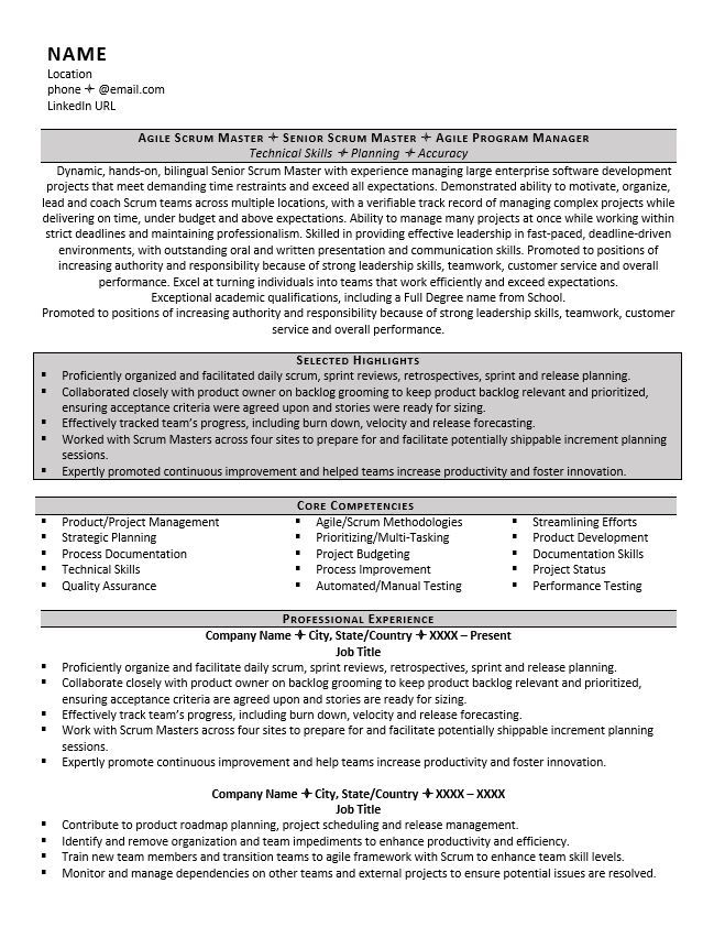Scrum Master Resume Example & Tips for 2018 Scrum master