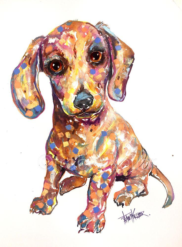 Doxie pet portrait painting