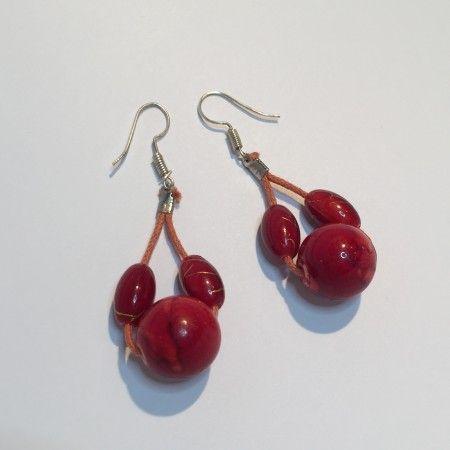 Boucles d'oreilles boules rouges marbrées