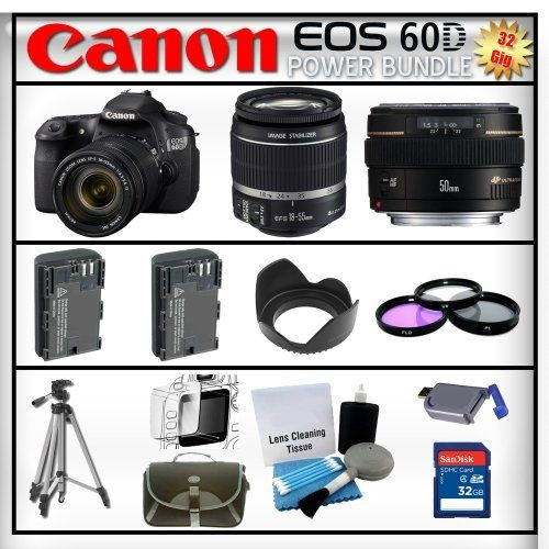 Canon EOS 60D 18MP - Canon EF-S 18-135mm f/3.5-5.6 IS STM - Canon EF-S 18-55mm IS II - Canon EF 50mm f/1.4 USM - 32GB Memory Card - Card Reader - 2 Batteries - Tulip Lens Hood - 3 Piece Lens Filter Kit - Carrying Case - Screen Protector - Lens Cleaning Kit - Full Size Tripod by Canon. $1659.95. Canon EOS 60D with Canon EF-S 18-135mm f/3.5-5.6 IS STM  With the new EOS 60D DSLR, Canon gives the photo enthusiast a powerful tool fostering creativity, with better i...