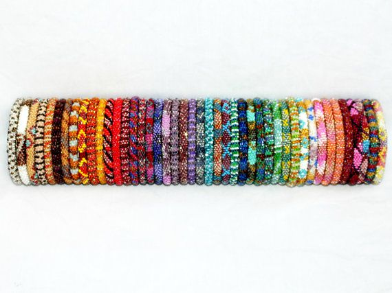 Wholesale Nepal Bracelets Set of 10, Roll On Bracelets, Beadwork Glass Seed Bead Bracelets, Ethnic Bracelets, Crochet Bohemian Bracelets