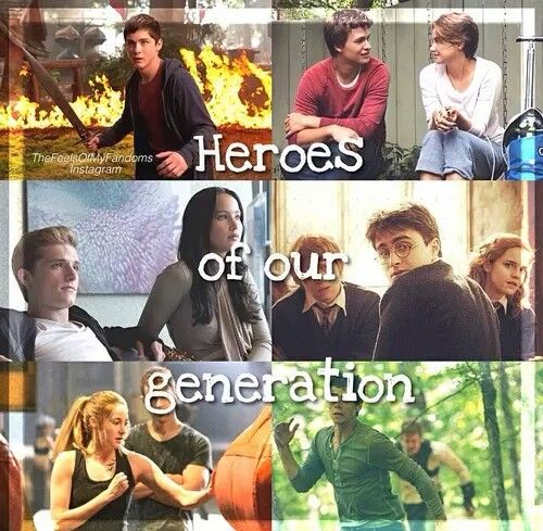 Percy Jackson, the fault in our stars, the hunger games, Harry Potter, divergent, maze runner
