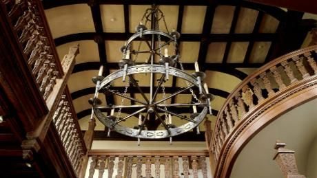 Staircase in the entrance hall at Barrington Court in Somerset