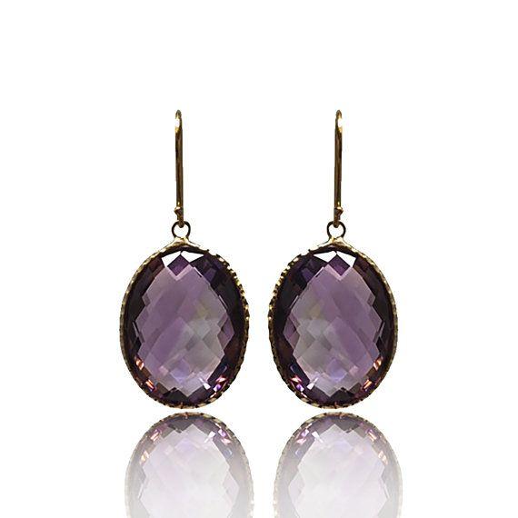 14K Yellow Gold Purple Amethyst Oval 20x15mm Earrings