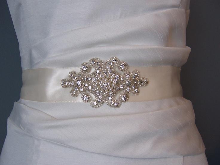 Bridal Sash Beaded Sash   Wedding Dress  Sash by BridalbyVanessa