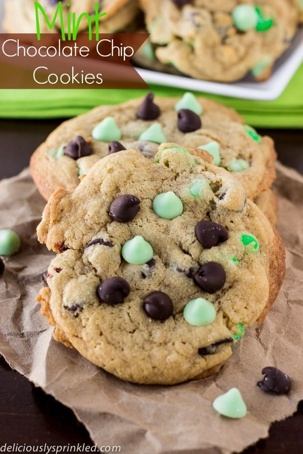 Mint Chocolate Chip Cookies | Deliciously Sprinkled