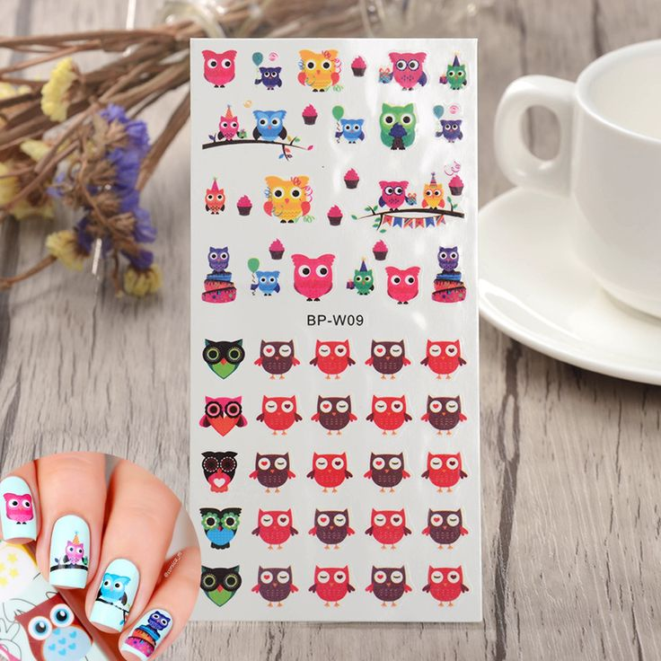 2 Patterns/Sheet Cartoon Owl Nail Art Water Decals Transfer Nails Sticker BORN…