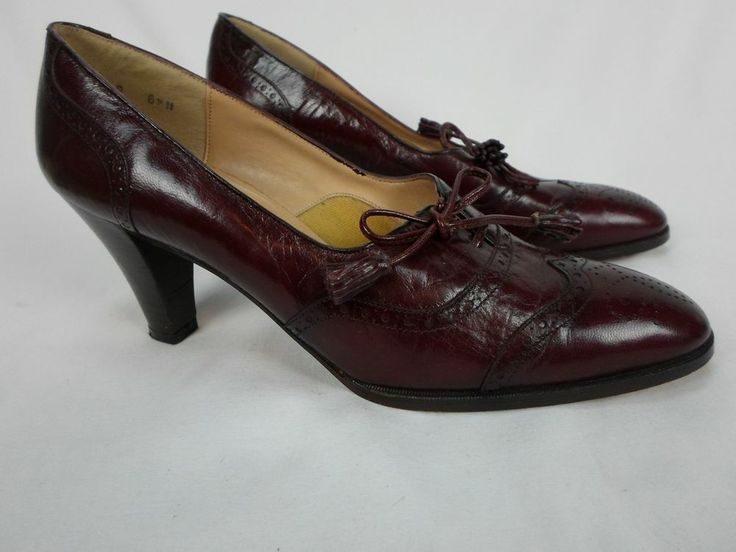 PAPPAGALLO Shoes Women's 3 CORDOVAN BERRY Pumps WING TIP TASSEL 6