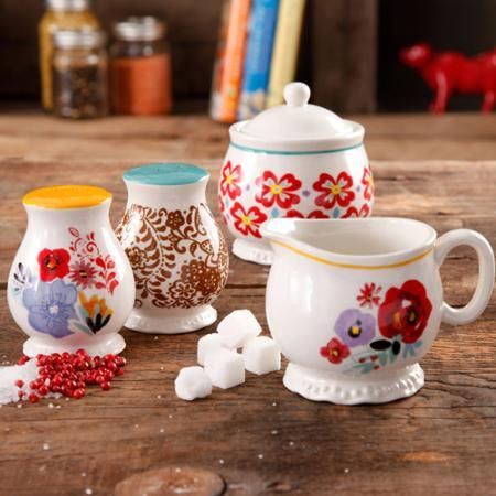 The Pioneer Woman Flea Market Decorated Sugar and Creamer with Salt and Pepper Shakers - Walmart.com: