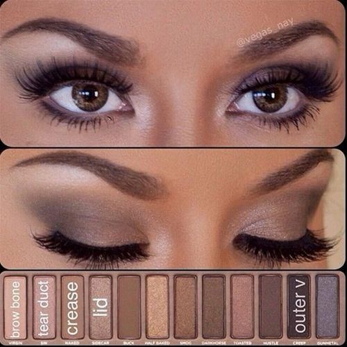 Simple eye makeup using the Urban Decay Palette.