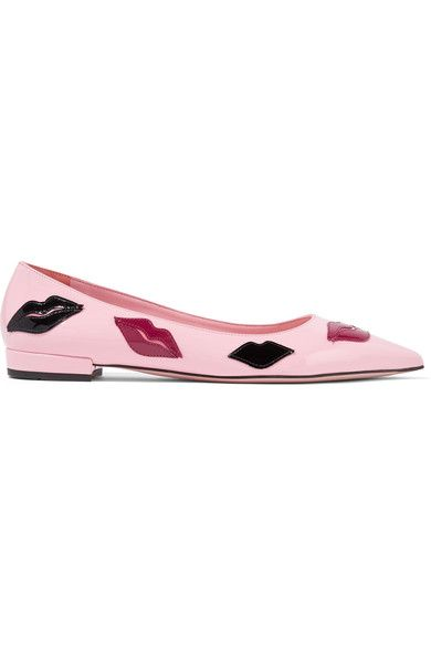 Prada - Appliquéd Patent-leather Point-toe Flats - Baby pink - IT38.5