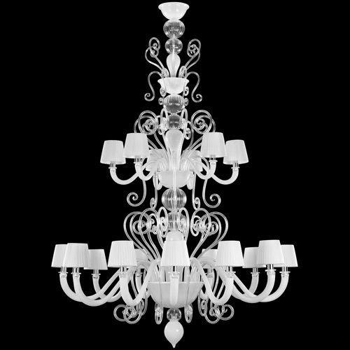 #Gatsby collection. 18 lights Double tier #chandelier, white color, crystal curly elements. White #lampshades.