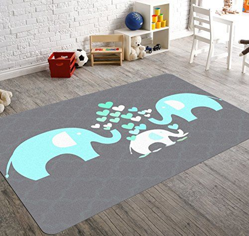 HawkerPeddler Elephant Nursery Decor Kids Room Non Slip Grey And Green X  Thin Rug