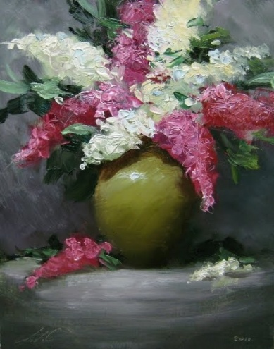 'Clay Pot Lilacs', painting by artist Justin Clements