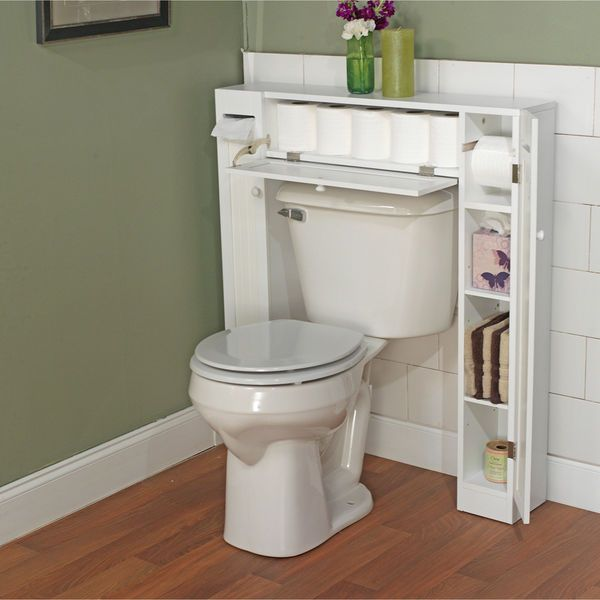 White Over Toilet Bathroom Space Saver Organizer Wood Linen Drawer 2 Cabinets  #SimpleLiving #Contemporary