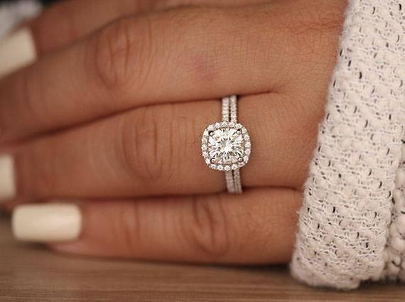 Cushion Moissanite Engagement Ring 14k White Gold Moissanite | Etsy