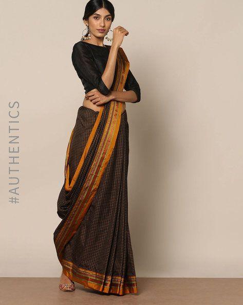 3bb48692a90c6 Buy Indie Picks Women Black Cotton Silk Ilkal Saree with Zari Border
