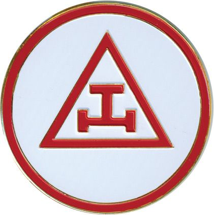 "Royal Arch Masons. ""This emblem, placed in the center of a Triangle and Circle – both emblems of Deity – constitutes the jewel of the Royal Arch as practiced in England, where it is so highly esteemed as to be called the ""emblem of all emblems,"" and ""the grand emblem of Royal Arch Masonry."""