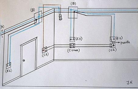 Esquema del circuito el ctrico de un dormitorio de - Instalar interruptor conmutador ...