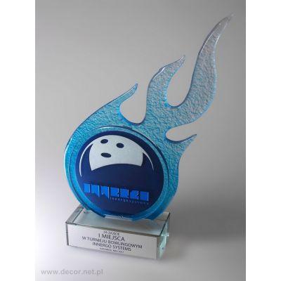 Statuetka szklana PS-461 - niebieski płomień - Bowling - kręgle - widowiskowy puchar z topionego szkła w piecu z polerowaną podstawą