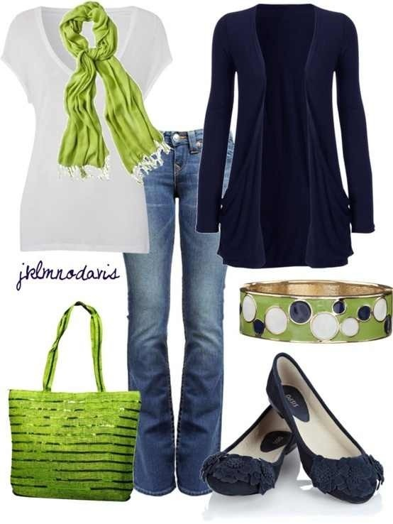 Blue, lime green, and white outfit.