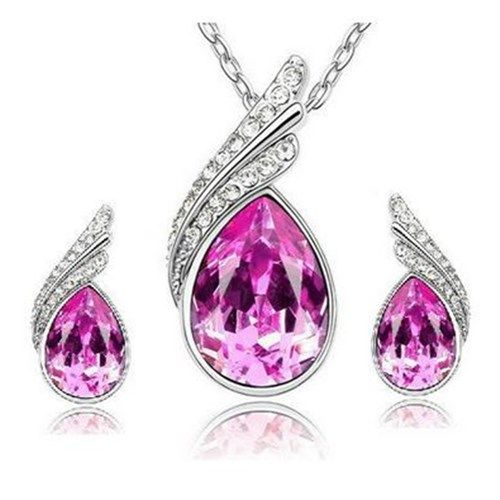 Pisara kaulakoru ja korvakorut pinkillä kristallilla  Korun tilaus- ja hintatiedot löytyvät osoitteesta: http://www.samaskoru.fi/tuote/pisara-kaulakoru-ja-korvakorut-pinkilla-kristallilla/  #korut #kaulakoru #jewelry #necklace #fashion  www.samaskoru.fi