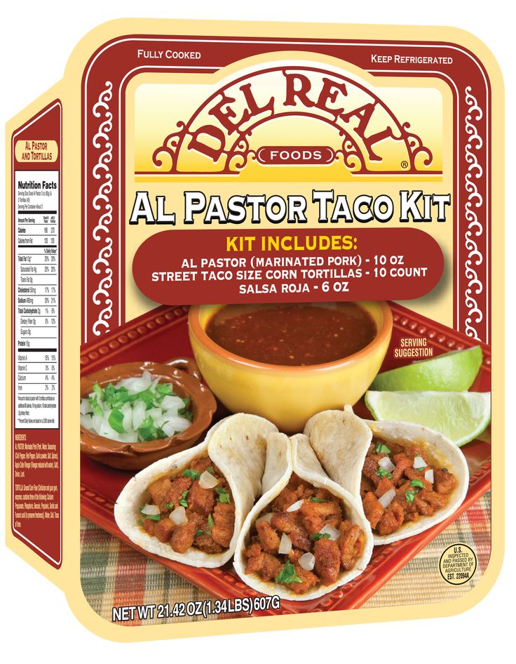 Del Real Foods Al Pastor Taco Kit comes with all you need for authentic and delicious street tacos; including fully cooked pork meat, tortillas, and salsa. The tender pork is marinated with delicious chile peppers, red peppers and an authentic blend of spices to create a unique and zesty flavor. This convenient kit is perfect for a quick and delicious meal that can be ready in just minutes.  #TacoKit #Authentic #MexicanFlavors