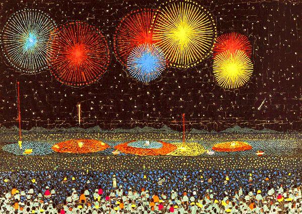 Nagaoka Fireworks - collage by Yamashita Kiyoshi, Japan (1950) 山下清 貼絵「長岡の花火」