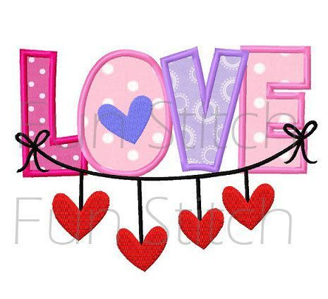 Valentine love hearts applique machine embroidery by FunStitch, $2.89
