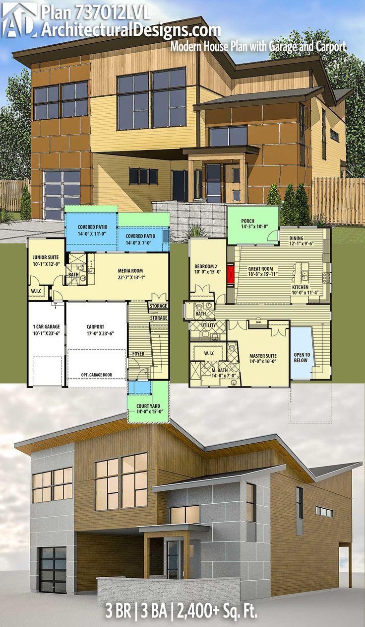 Plan 737012LVL Modern House Plan with Garage