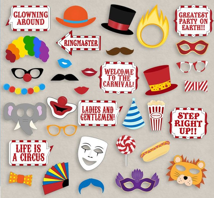 35 x Circus/Carnival Party Photo Booth Props