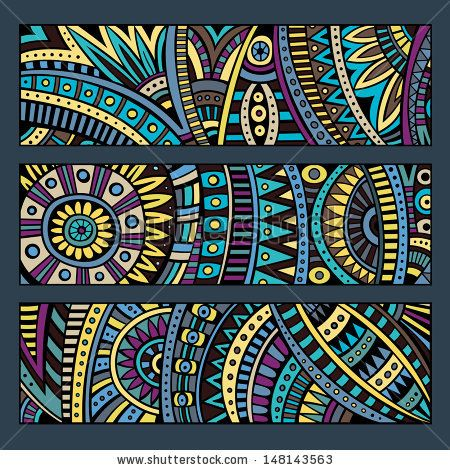 Abstract vector ethnic pattern cards set by balabolka, via Shutterstock