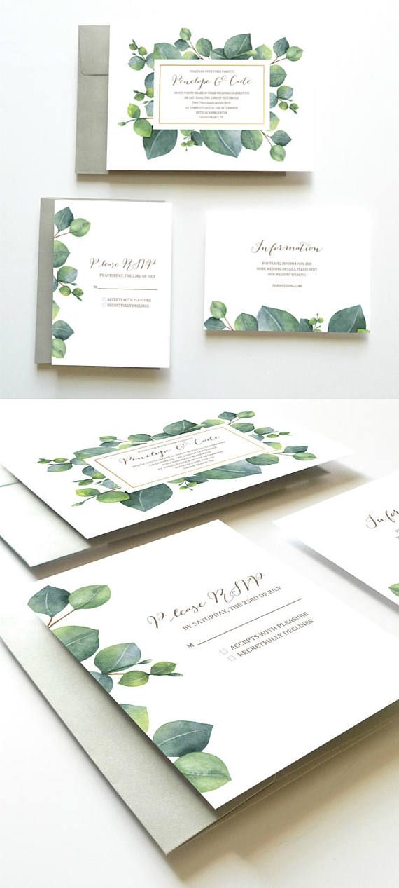 Eucalyptus Wedding Invitation, Botanical Wedding Invitation, Green Wedding Invitation, Wedding Invitation Suite, Wedding Invitation Set // Design by Oakhouse on Etsy