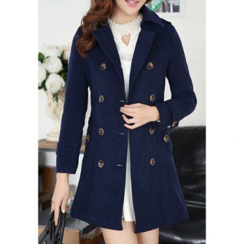 Modern style double breasted long sleeves worsted women s coat navy