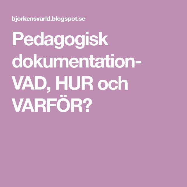 Pedagogisk dokumentation- VAD, HUR och VARFÖR?