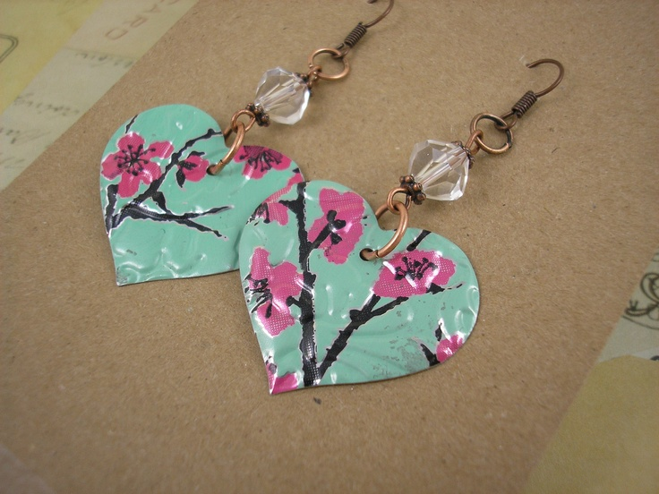 Recycled Soda Can Art.  Tea Heart Earring with Crystal Bead.  DOUBLE-sided.. $7.95, via Etsy.