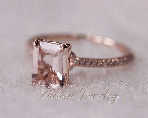 Pink Emerald Cut VS Morganite Ring SI/H Diamonds Wedding Ring Rose Gold/  White Gold Engagement Ring/ Promise Ring/ Anniversary Ring