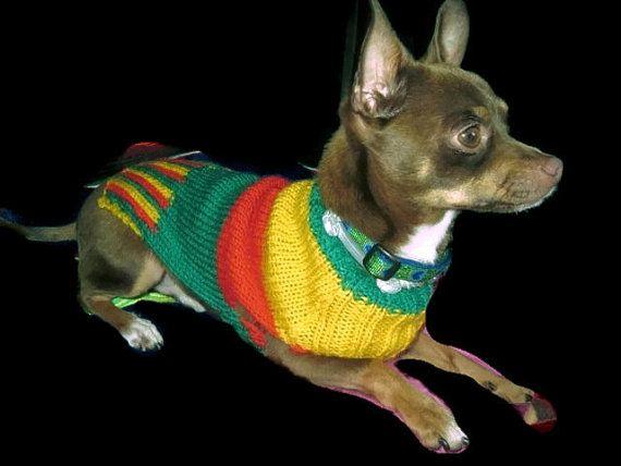Puente del perro, Mikos encargo unisex perro puente, suéter de gato, ropa para mascotas tejida a mano. ropa para perros en color rojo amarillo y verde.