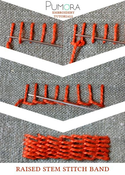 Pumora's embroidery stitch lexicon: the raised stem stitch band