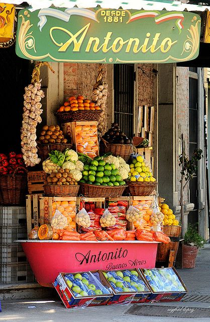 Fruit Stand, Buenos Aires, Argentina...great use for an old bathtub!