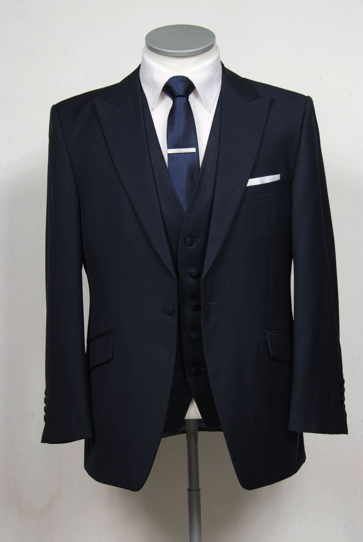 """navy blue grooms wedding suit slim fit light weight wool with classic waistcoat. Mens sizes from 32"""" chest upward and include extra short, short, regular, long and extra long fittings. Boys sizes from 20"""" to 34"""" chest. Complete outfit includes jacket, skinny trousers, hire or matching waistcoat, brand new traditional or French wing slim fit shirt in white or ivory, tie or cravat, braces and cufflinks. £150.00 to hire groom wedding suit navy blue"""
