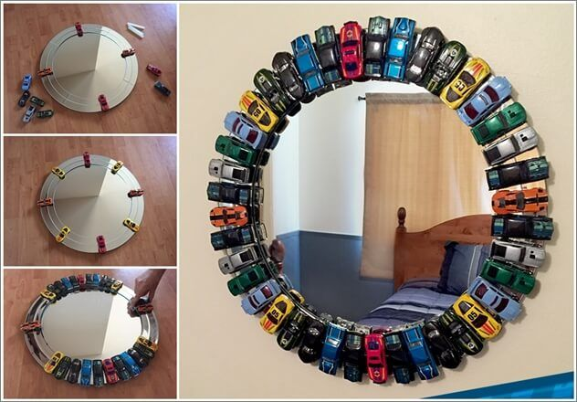 Are you thinking of trying some fun decor project for your kids' room and especially for a little boys' room? If yes then here is an idea that is sure to leave you inspired. By using toy cars you can create a mirror that is truly out of the ordinary and unique yet with the use of such a simple idea. So, next time when you go to a toy shop, grab a pack of toy cars, a round or a any other shape mirror and start this project. For further details head over to the link below:  Toy Car Mirror…